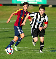 Friendly pre-season match between Wick Academy and Livingstone played at Harmsworth Park home of Highland League team Wick Academy. Sam Mackay on the charge for the Scorries